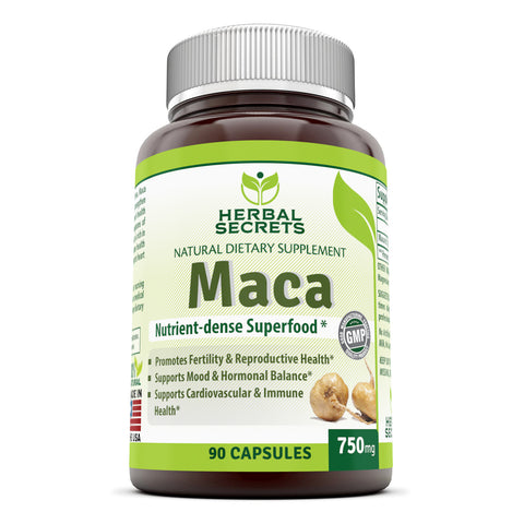 Image of Herbal Secrets Maca 750 Mg 90 Capsules
