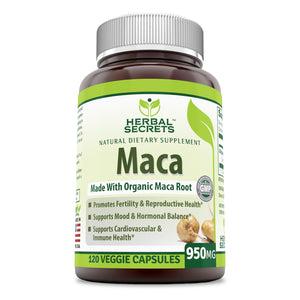 Herbal Secrets Organic Maca 950 Mg 120 Veggie Capsules