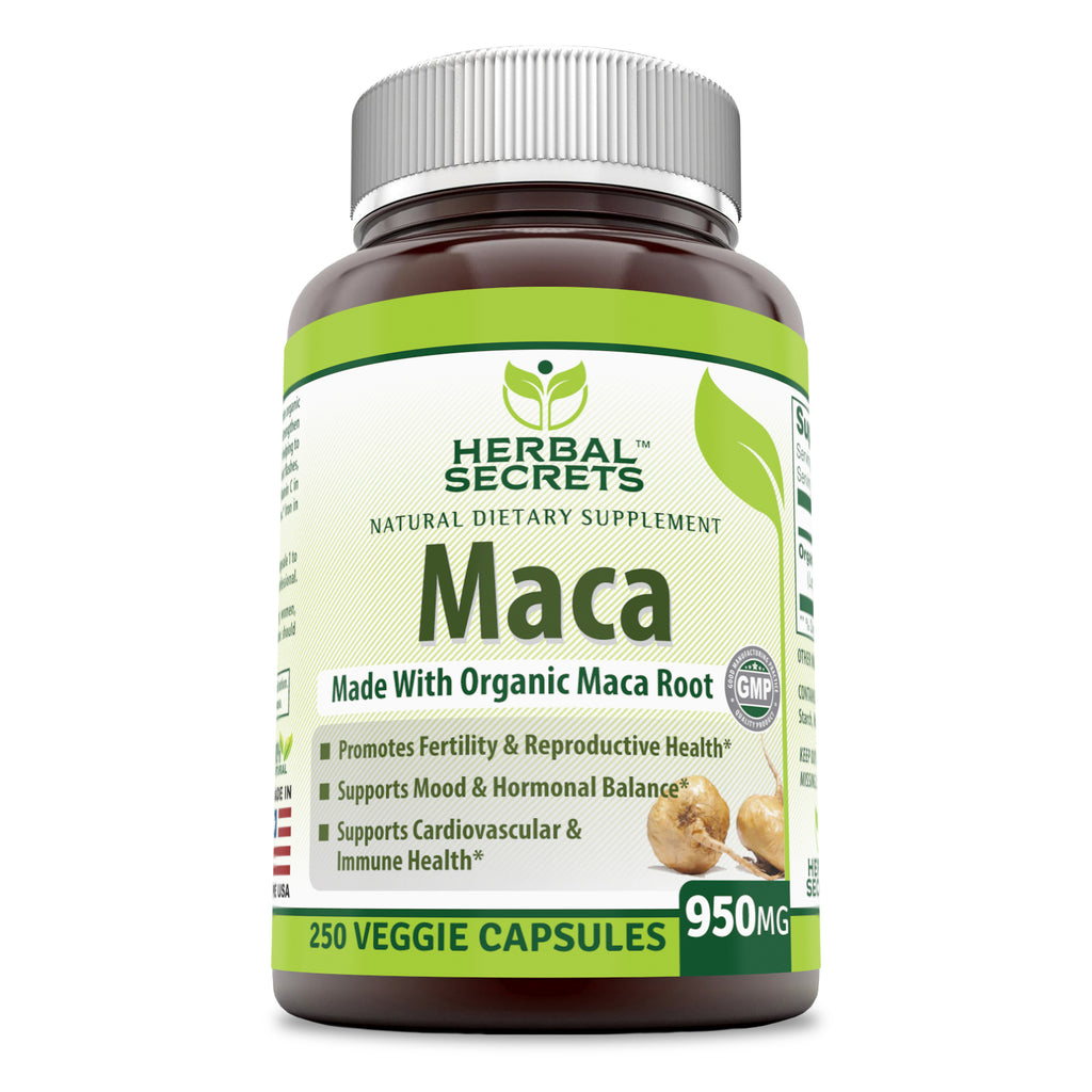 Herbal Secrets Organic Maca 950 mg, 250 Veggie Capsules (Non-GMO) - Gelatinized for Enhanced Bioavailability - Supports Healthy Mood, Hormonal Balance, Cardiovascular Health & Immune Health*