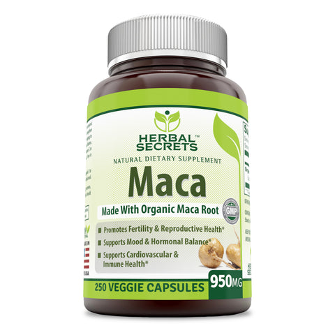 Herbal Secrets Organic Maca 950 Mg 250 Veggie Capsules