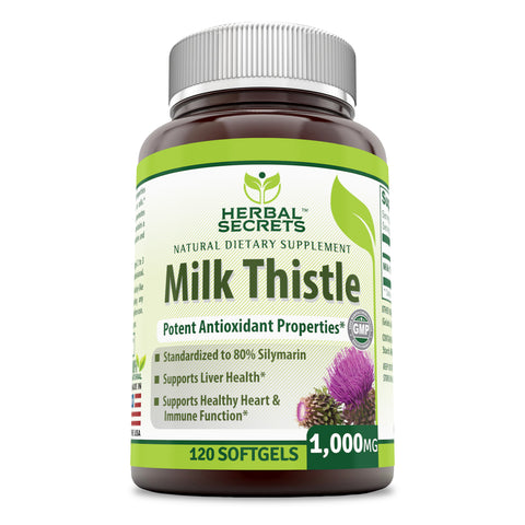 Image of Herbal secrets Milk Thistle 1000 Mg 120 Softgels