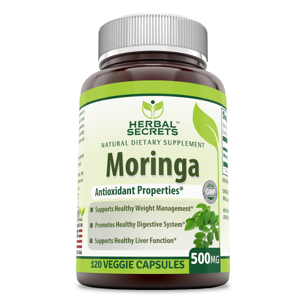 Herbal Secrets Moringa 500 Mg 120 Veggie Capsules (Non-GMO) - Antioxidant Properties * Supports Healthy Weight Management, Promotes Healthy Digestive System and Supports Healthy Liver Function*