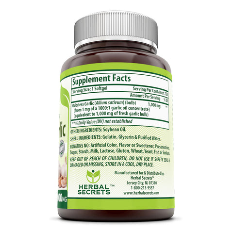 Herbal Secrets Odorless Garlic 1000 Mg 120 Softgels