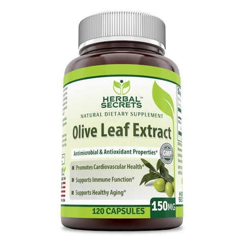 Image of Herbal Secrets Olive Leaf Extract 150 Mg - 120 Capsules (Non-GMO) - Supports Cardiovascular Health, Immune Function and Healthy Aging
