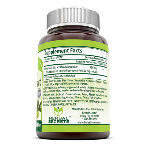 Image of Herbal Secrets Olive Leaf Extract 500 Mg - 120 Veggie Capsules (Non-GMO) - Standardize to Contain 6% Oleuropein, Supports Cardiovascular Health, Immune Function