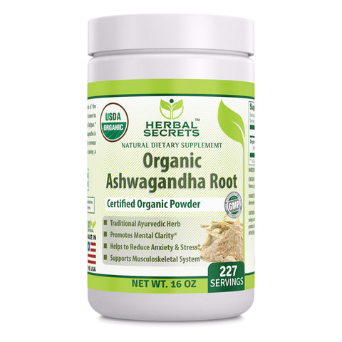 Herbal Secrets USDA Certified Organic Ashwaganda Root Powder 16 Oz