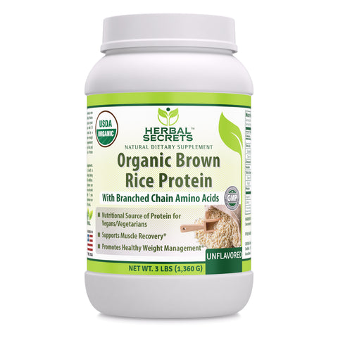 Image of Herbal Secrets Organic Brown Rice Protein Powder - 3 lbs (Non-GMO) Unflavored- Supports Muscle Recovery, Promotes Healthy Weight Management*