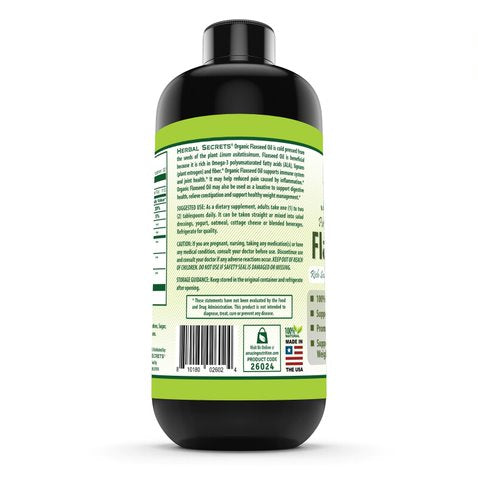 Herbals Secrets USDA Certified Organic Flaxseed Oil 16 Fl Oz- Promotes joint health * Supports healthy weight management