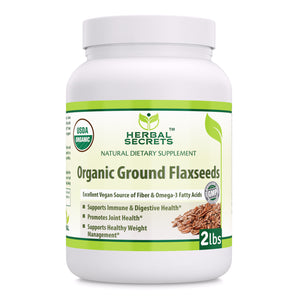 Herbal Secrets USDA Certified Organic Ground Flaxseed 2 Lbs (Non-GMO) - Excellent Vegan Source of Fiber & Omega -3 Fatty Acids - Promotes Joint Health,Supports Healthy Weight Management*Supports Immune & Digestive Health