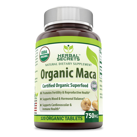 Herbal Secrets Organic Maca 750 Mg 120 Tablets
