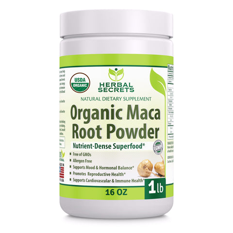 Image of Herbal Secrets USDA Certified Organic Maca Root Powder- 16 oz (1 lb)- GMO Free- Supports Healthy Mood, Hormonal Balance, Cardiovascular Health & Immune Health