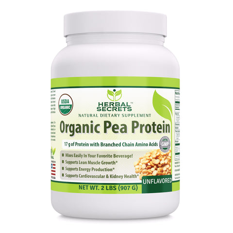 Herbal Secrets Organic Pea Protein Powder - 2 lbs (Non-GMO) Unflavored- Supports Lean Muscle Growth, Energy Production, Cardiovascular & Kidney Health*