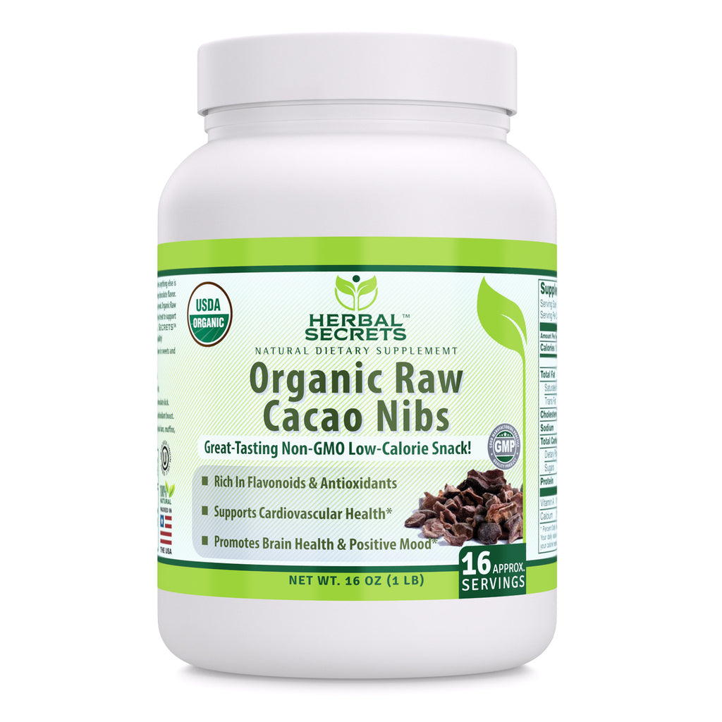 Herbal Secrets USDA Certified Organic Raw Cacao Nibs 16 oz (Non-GMO) 1 lb Gluten Free - Promotes Brain Health & Positive Mood, Supports Cardiovascular Health*