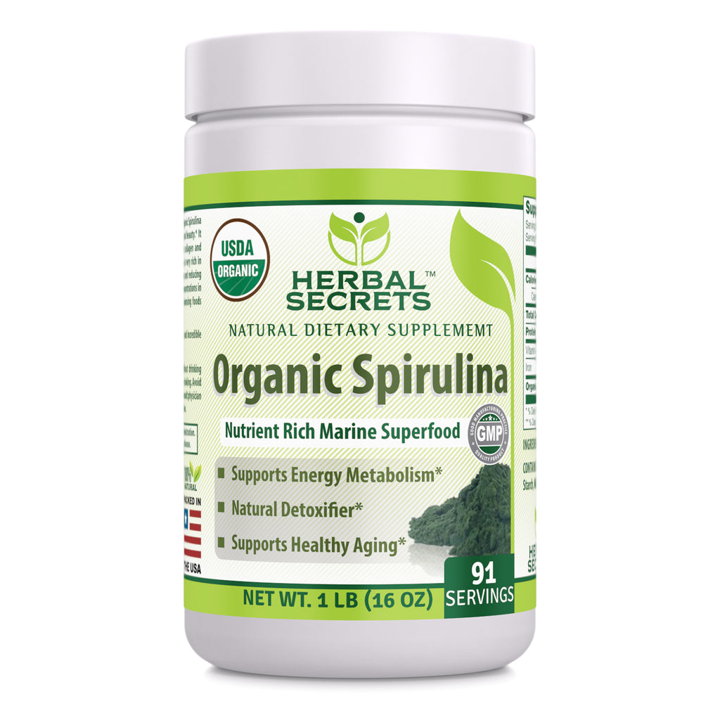 Herbal Secrets USDA Certified Organic Spirulina Powder 16 Oz (Non-GMO) 1 Lb - Nutrient Rich Marine Superfood- Supports Healthy Aging, Energy Metabolism, Natural Detoxifier