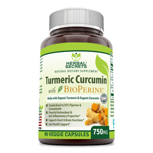 Herbal Secrets Turmeric Curcumin with BioPerine 750 Mg 90 Capsules