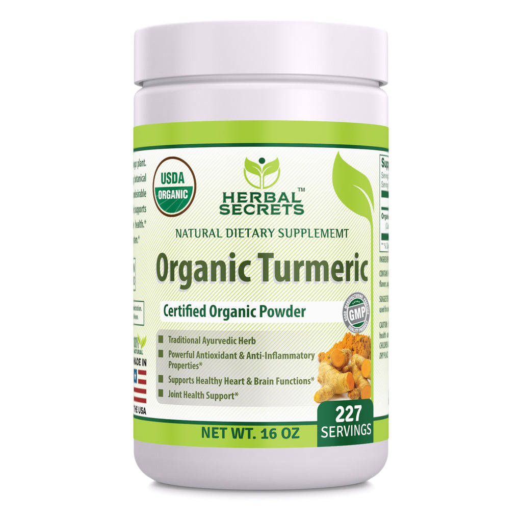 Herbal Secrets USDA Certified Organic Turmeric Powder 16 oz (Non-GMO) Gluten-Free - Antioxidant & Anti-Inflammatory Properties* Supports Healthy Heart and Brain Functions