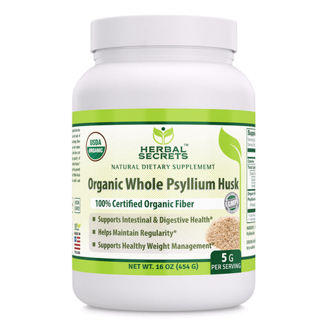 Image of Herbal Secrets USDA Certified Organic Psyllium Husk 16 Oz (Non-GMO)- Vegan, Dairy Free, Gluten Free, no Sugar-Supports Intestinal & Digestive Health,Supports Healthy Weight Management*