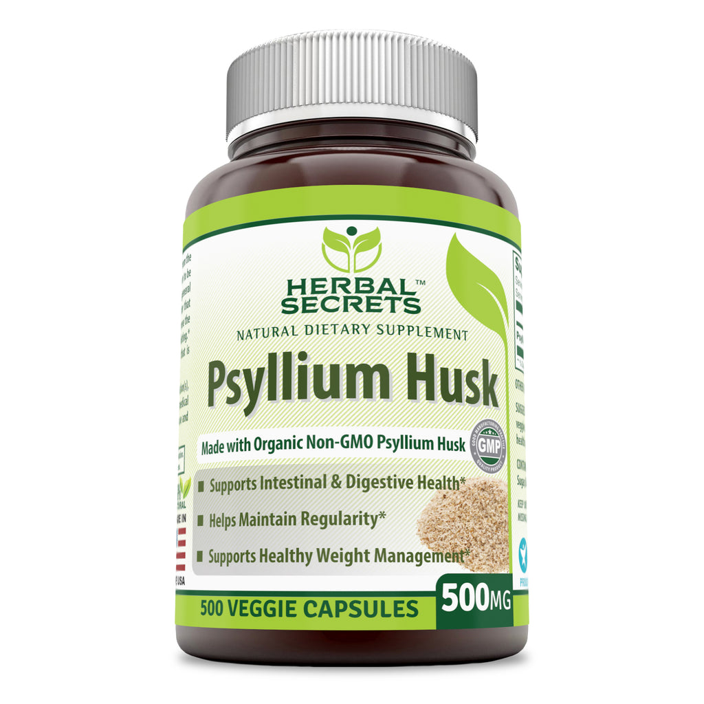 Herbal Secrets Psyllium Husk 500 Mg Veggie Capsules (500 Count) (Non-GMO) - Supports Intestinal & Digestive Health, Weight Management; Helps Maintain Regularity*
