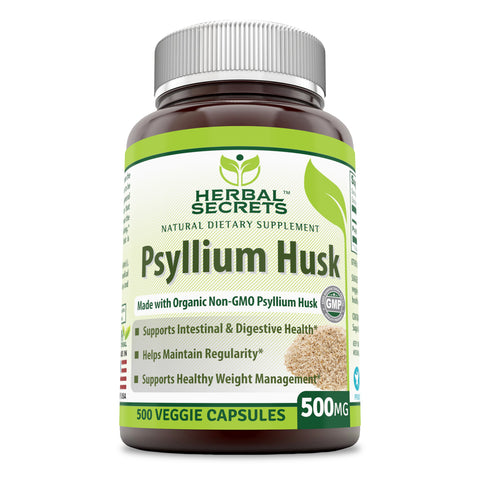 Image of Herbal Secrets Psyllium Husk 500 Mg Veggie Capsules (500 Count) (Non-GMO) - Supports Intestinal & Digestive Health, Weight Management; Helps Maintain Regularity*