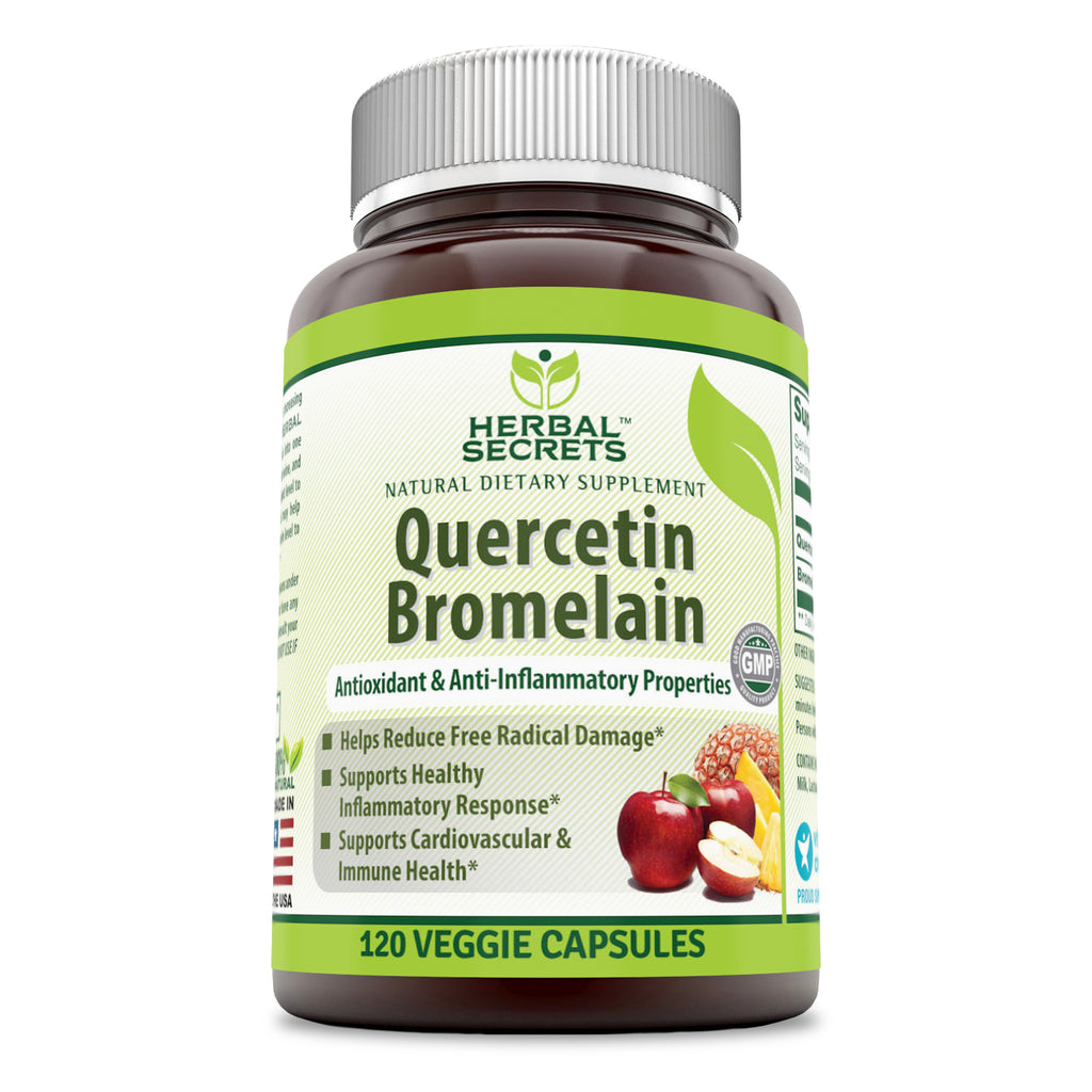 Herbal Secrets Quercetin 800 Mg with Bromelain 165 Mg, 120 Veggie Capsules (Non-GMO) - Supports Cardiovascular & Immune Health * Supports Healthy inflammatory Response