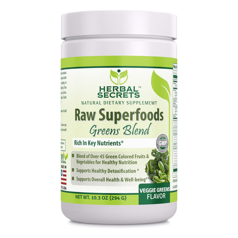 Image of Herbal Secrets Raw Superfoods Greens Blend Veggie Greens Flavor 10.3 Oz