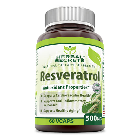 Herbal Secrets Resveratrol 500 Mg 60 Vegetarian Capsules
