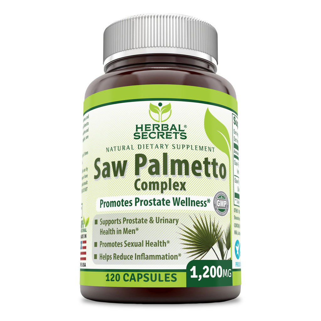 Herbal Secrets Saw Palmetto Complex Dietary Supplement – 1200 milligrams 120 Capsules (Non-GMO)- Contains 10:1 Standardized Extract Along with Saw Palmetto Whole Berry Powder – Prostate Supports