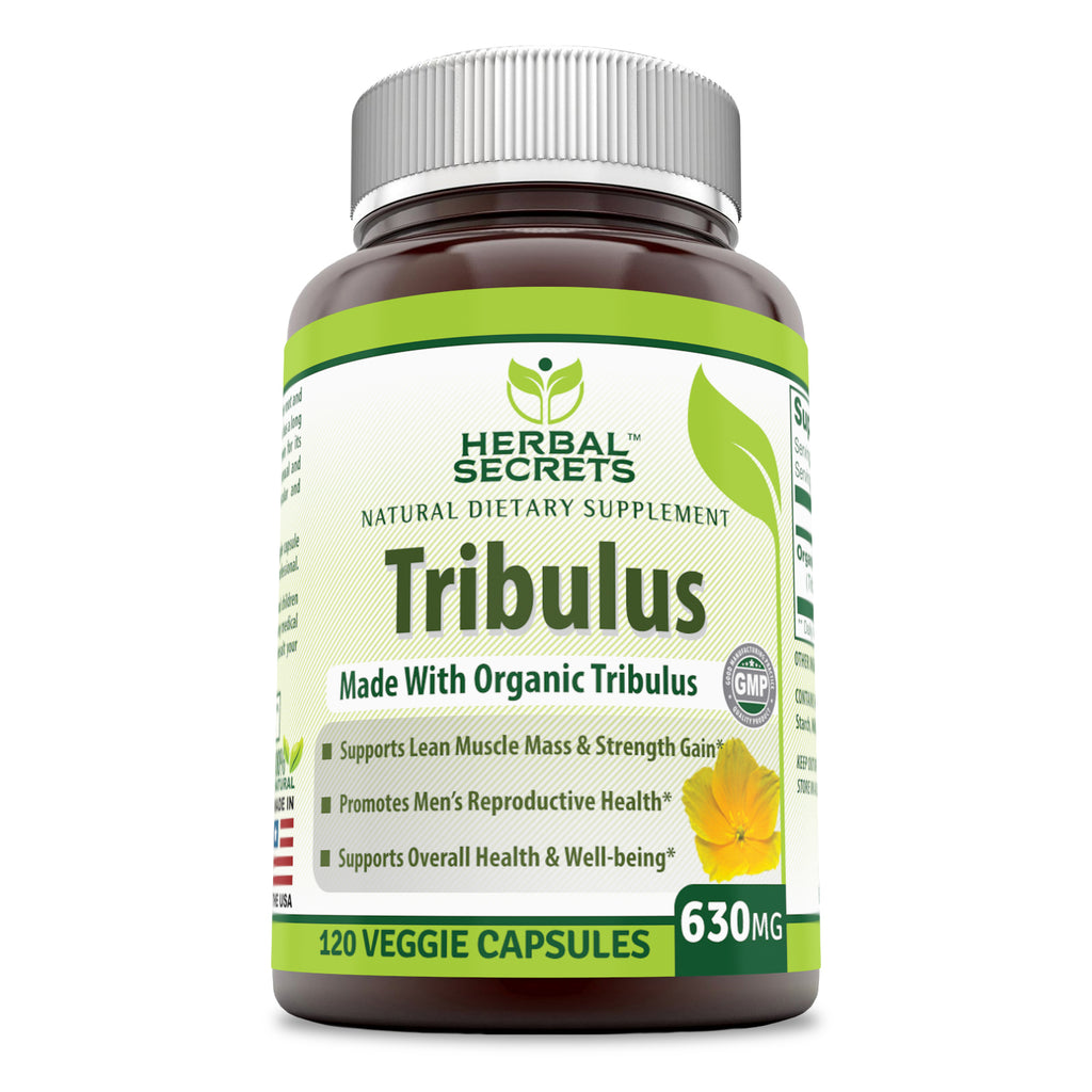 Herbal Secrets Tribulus 630 Mg 120 Veggie Capsules (Non-GMO) - Made with Organic Tribulus- Promotes Men s Reproductive Health, Supports Lean Muscle Mass & Strength Gain, Supports Overall Health