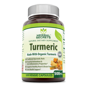 Herbal Secrets Turmeric 500 mg 120 Veggie Capsules (Non-GMO) - Antioxidant & Anti-Inflammatory Properties* Support Healthy Heart Rate & Brain Function* Joint Health Support