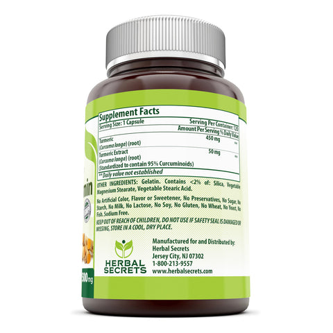 Image of Herbal Secrets Turmeric Curcumin 500 Mg 120 Capsules