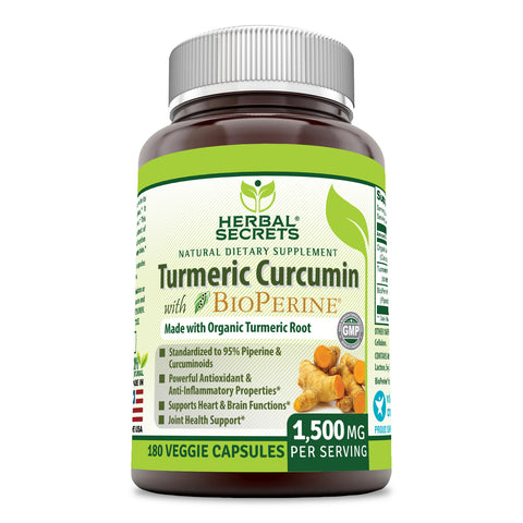Herbal Secrets Turmeric Curcumin with Bioperine 1500 Mg 180 Veggie Capsules