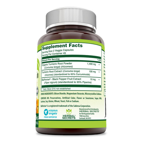 Herbal Secrets Turmeric Curcumin with Bioperine 1500 Mg 90 Veggie Capsules