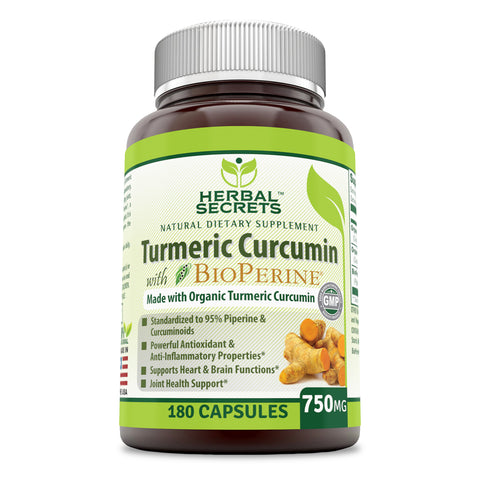 Herbal Secrets Turmeric Curcumin with Bio Perine 750 Mg 180 Veggie Capsules