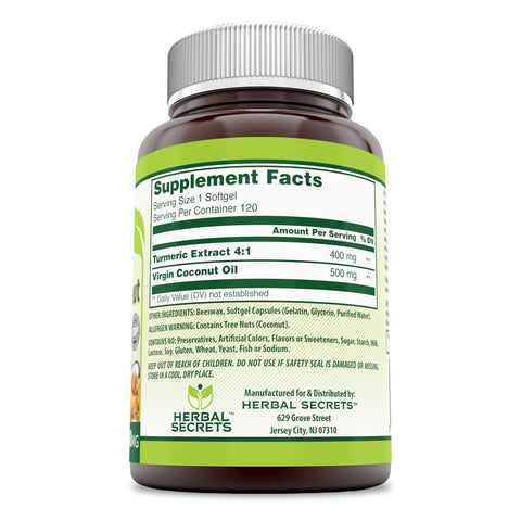 Image of Herbal Secrets Turmeric & Coconut 900 Mg 120 Softgels