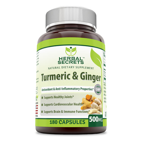 Image of Herbal Secrets Turmeric & Ginger 500 Mg (180 Count) Veggie Capsules (Non-GMO) - Antioxidant & Anti-Inflammatory Properties, Support Digestive Function, Healthy Heart Rate & Brain Function*