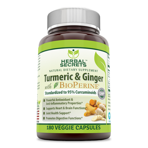 Herbal Secrets Turmeric Curcumin & Ginger with BioPerine 180 Veggie Capsules