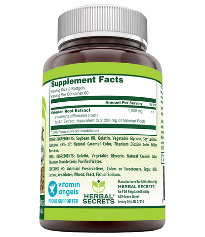 Herbal Secrets Valerian Root 1000 Mg 120 Softgels