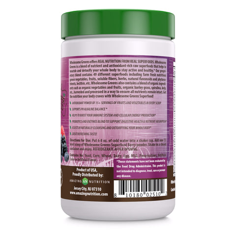 Wholesome Greens Super Food Berry Flavor - 8.5 oz - Amazing Nutrition