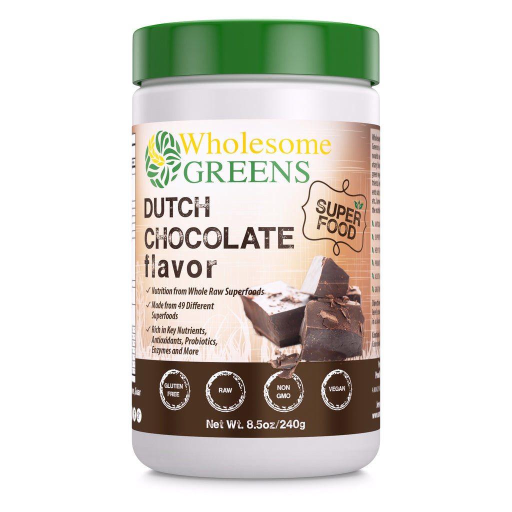 Wholesome Greens Super Food Greens Dutch Chocolate Flavor - 8.5 oz - Amazing Nutrition
