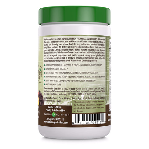 Image of Wholesome Greens Super Food Natural Flavor - 8.5 oz - Amazing Nutrition