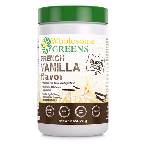Image of Wholesome Greens Super Food Greens Vanilla Flavor - 8.5 oz - Amazing Nutrition