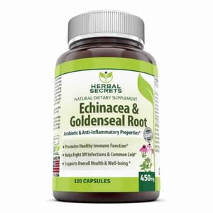 Herbal Secrets Echinacea & Goldenseal Root - 450 Mg, 120 Capsules - Amazing Nutrition
