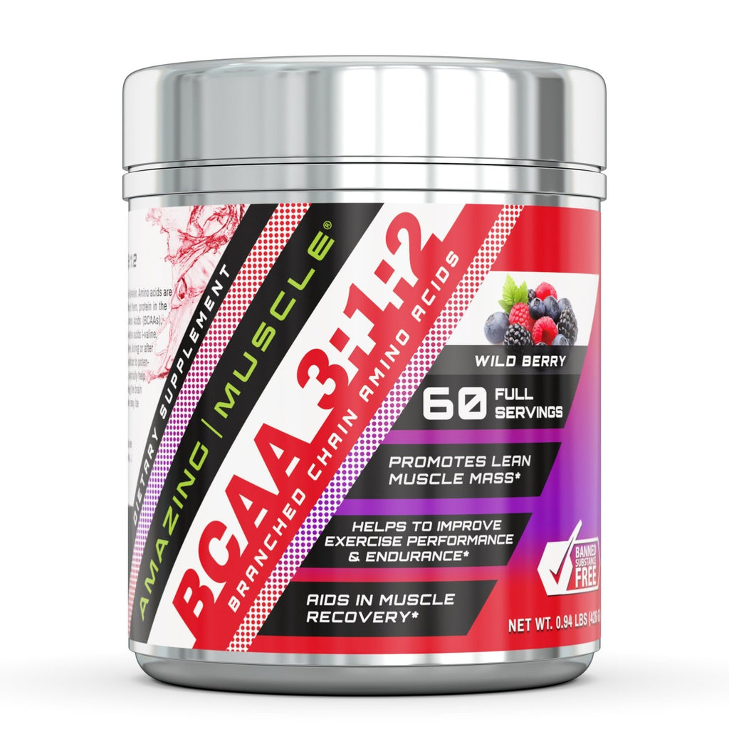 Amazing Muscle BCAA 3:1:2 with Natural Flavor & Sweetners 60 Servings Wild Berry