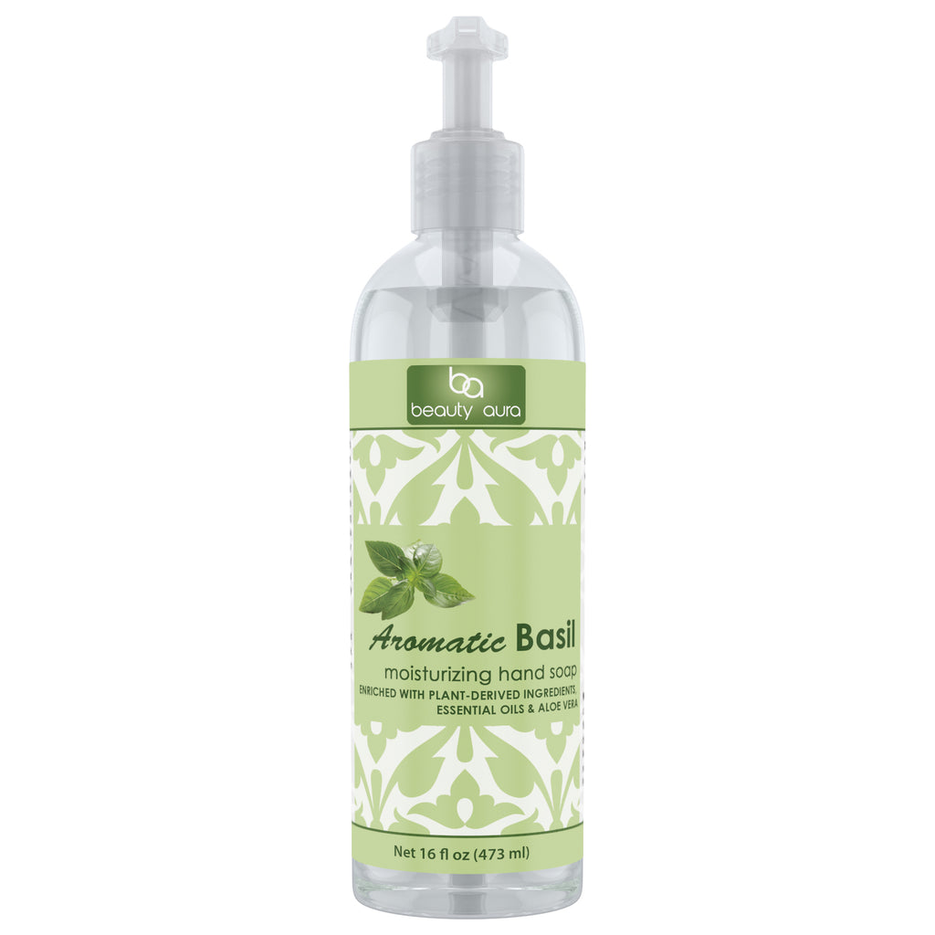 Beauty Aura Aromatic Basil Moisturizing Hand Soap 16 Fl Oz 473 Ml