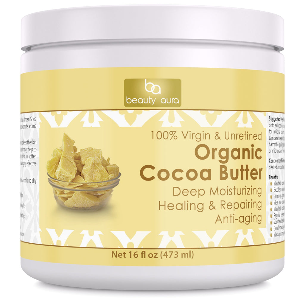 Beauty Aura Organic Cocoa Butter (16 Fl Oz) - Helps Deep Moisturizing, Healing, Repairing and Anti-Aging.