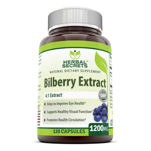 Herbal Secrets Bilberry Extract 1200 Mg 120 Capsules - Amazing Nutrition