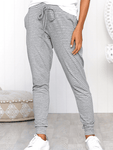 Amazingbe.com Bottoms Grey / S Striped Tie Loose Pants