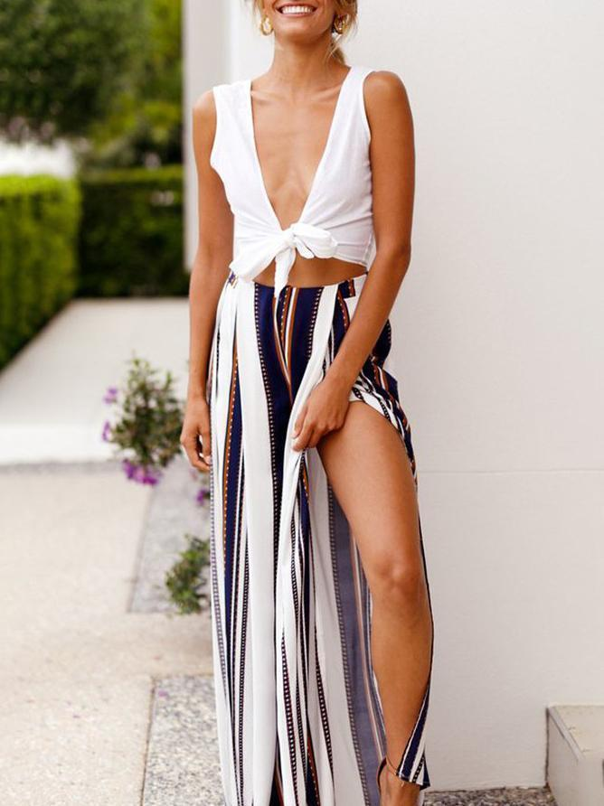 Amazingbe.com Bottoms Navy Blue / S Stripe Printed High Cut Wide Leg Pants