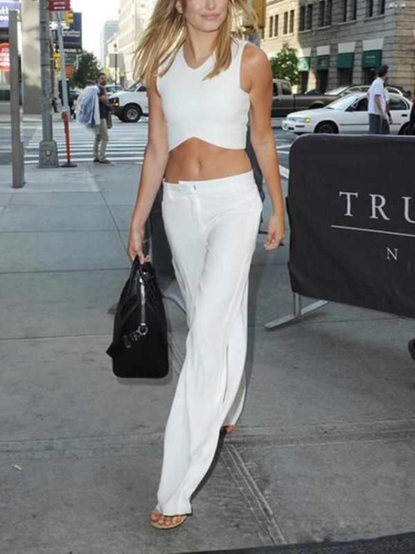 Amazingbe.com Bottoms White / S Solid High Waist Wide Leg Pants