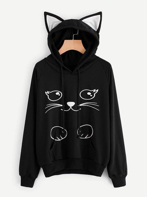 Amazingbe.com Hoodies & Sweatshirts Black / S Cat Ear Cartoon Print Hoodie